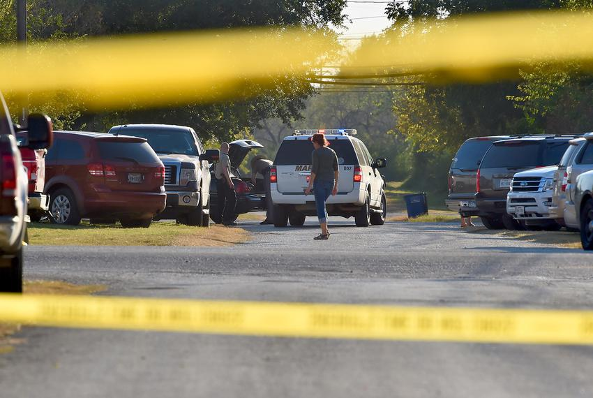 Police tape cordons off the crime scene at the First Baptist Church in Sutherland Springs after the worst mass shooting in...