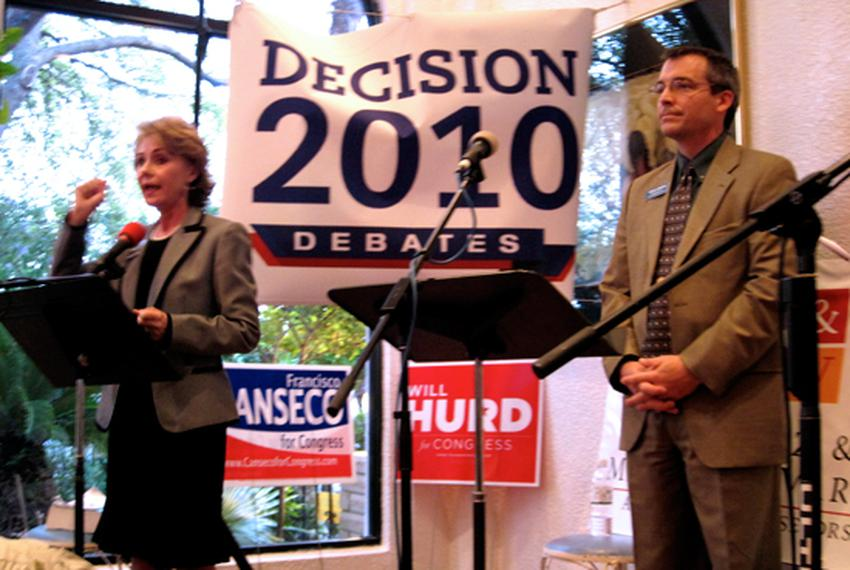 Rick Green and Judge Debra Lehrmann at a Young Republicans debate in San Antonio.