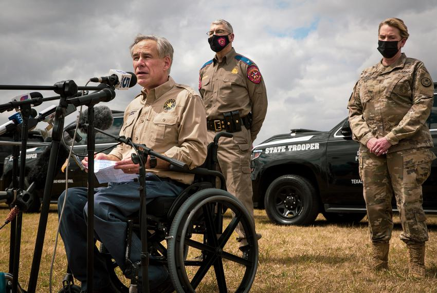 Governor Greg Abbott addresses the media about border security at a press conference at Anzalduas Park in Mission on March 9…
