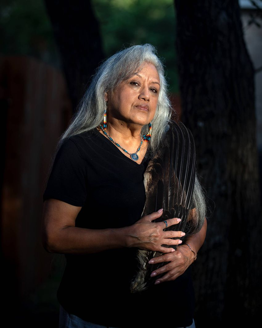 AUSTIN, TX - JULY 25: Juanita Ramos poses for a portrait in her back yard on July 25, 2020. (Photo by Montinique Monroe)
