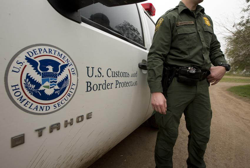 U.S Customs and Border Patrol agent near the Texas-Mexico border in Mission, Texas February 10, 2019