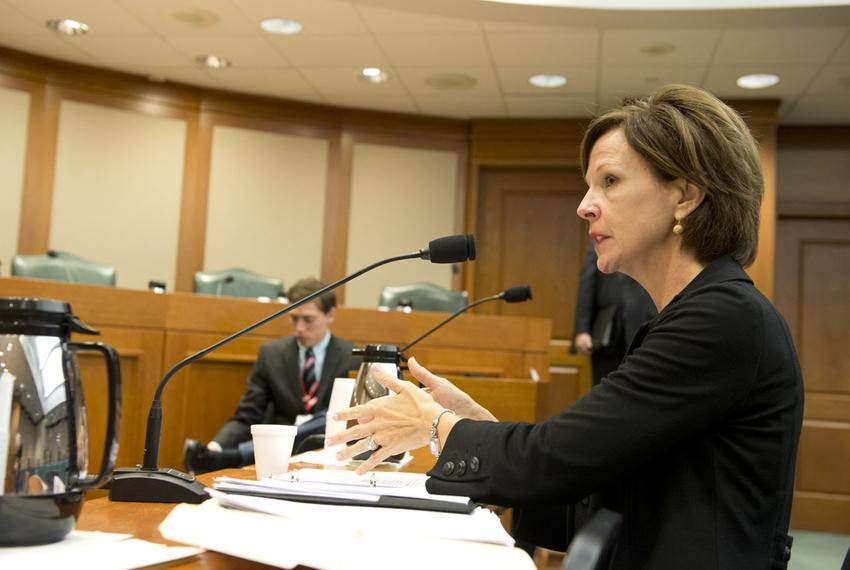 Science educator Barbara Cargill of The Woodlands speaks to the Senate Nominations Committee about her nomination as chair o…