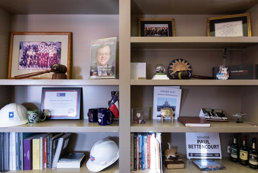 Keepsakes adorn the shelves in State Sen. Paul Bettencourt's office in the Capitol building in Austin on Feb. 13, 2019.
