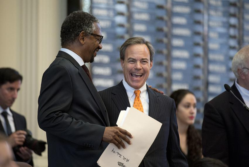 House Speaker Joe Straus, right, with state Rep. Harold Dutton, D-Houston, on June 1, 2015.