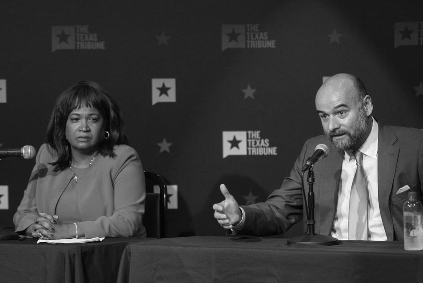 Sheryl Cole and Chito Vela at a candidate forum hosted by The Texas Tribune in East Austin on May 7, 2018.