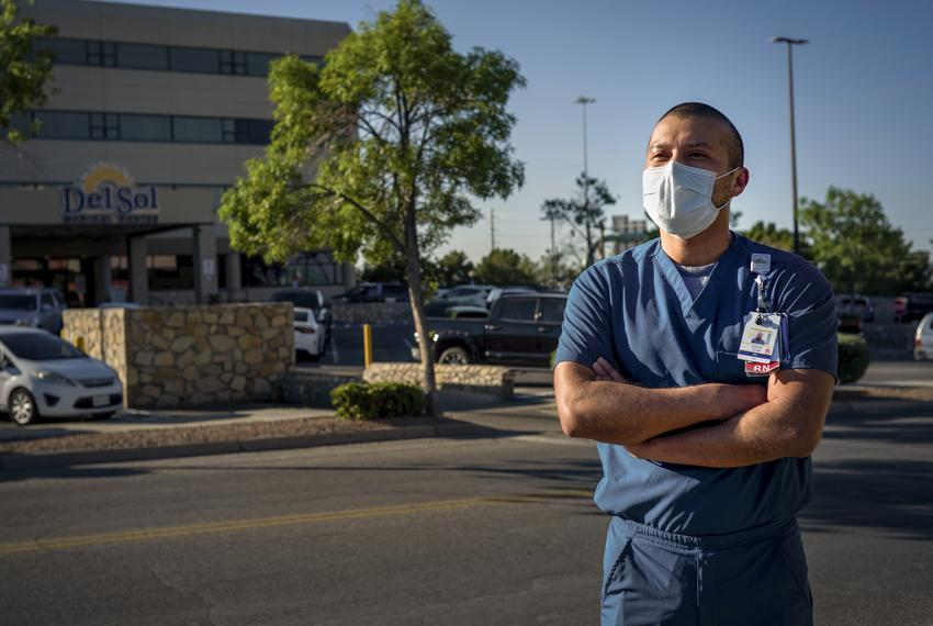 Josue Tuyub, 35, an intensive care unit nurse and DACA recipient, works at Del Sol Medical Center where he treats coronaviru…