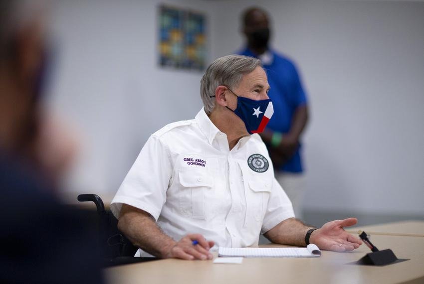 Gov. Greg Abbott meets with local leaders in El Paso to discuss the coronavirus situation in the city and state on Aug. 13, …