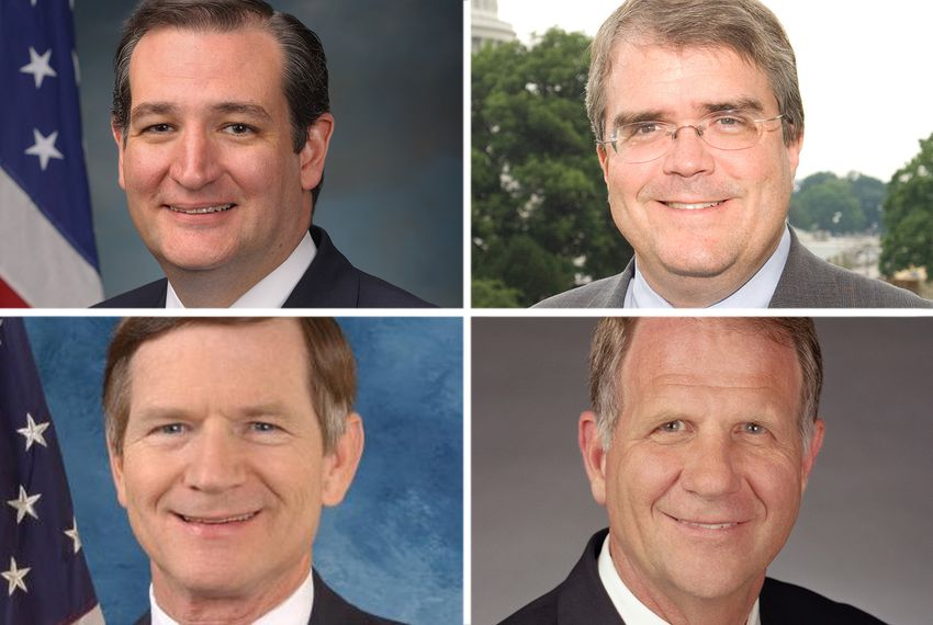 Clockwise from top left: U.S. Sen. Ted Cruz, R-Texas, and U.S. Reps. John Culberson, R-Houston, Ted Poe, R-Humble and Lamar Smith, R-San Antonio.