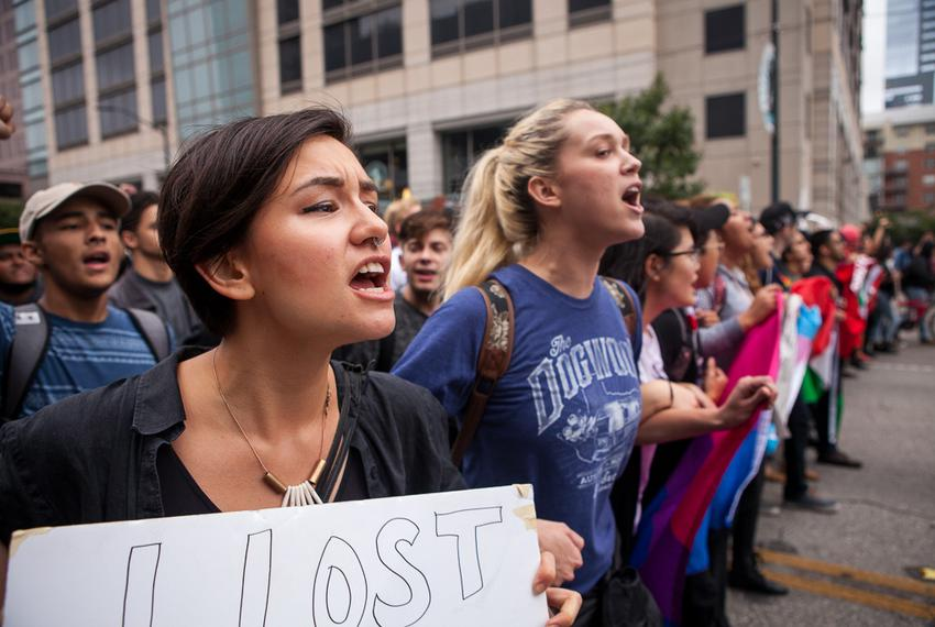 UT Austin students protest Donald Trump's presidential victory in downtown Austin on Nov. 9, 2016.