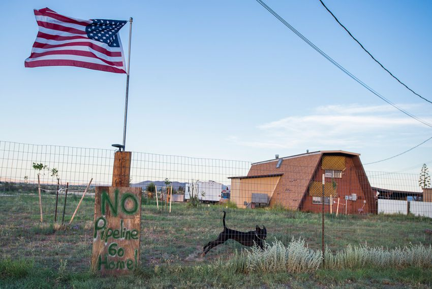 A sign opposing the Trans-Pecos pipeline hangs in a neighborhood near where the pipeline could run near Alpine.