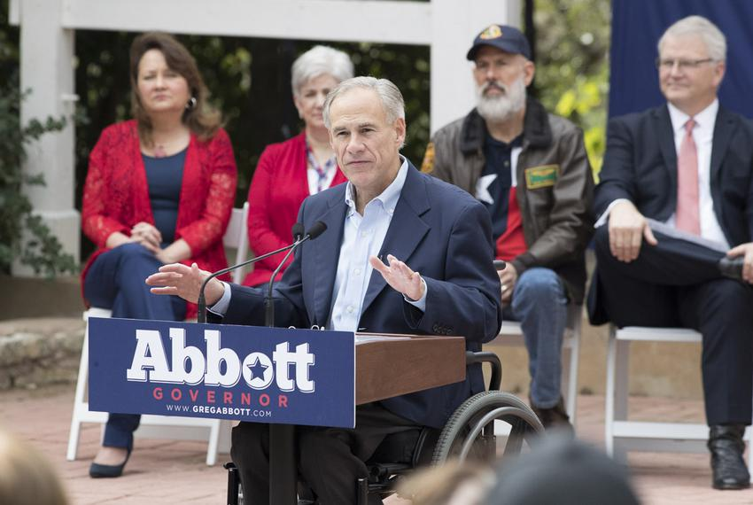 Gov. Greg Abbott announces plans for several veteran's initiatives during a campaign speech Nov. 11, 2017 at the Austin Am...