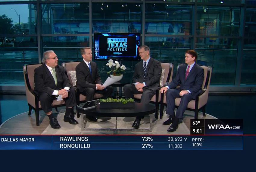 (L-R) The Fort Worth Star-Telegram's Bud Kennedy, WFAA's Jason Whitely, Dallas Mayor Mike Rawlings and Arlington Mayor-Elect…
