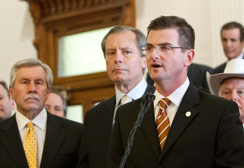 Texas State Representative Brandon Creighton, who chairs the House Select Committee on State Sovereignty, during a press conference on the Tenth Amendment.