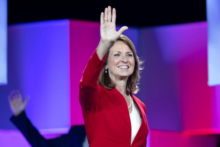 Action on Friday at the second day of the Texas Republican Convention in San Antonio as Senate candidate Angela Paxton waves…