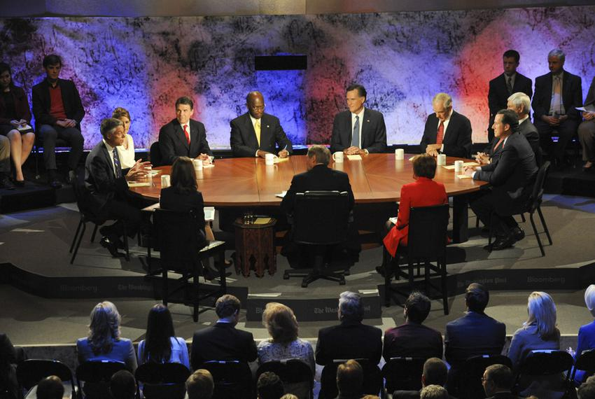 Candidates during the second hour of the Republican presidential debate at Dartmouth College on Oct. 11, 2011.
