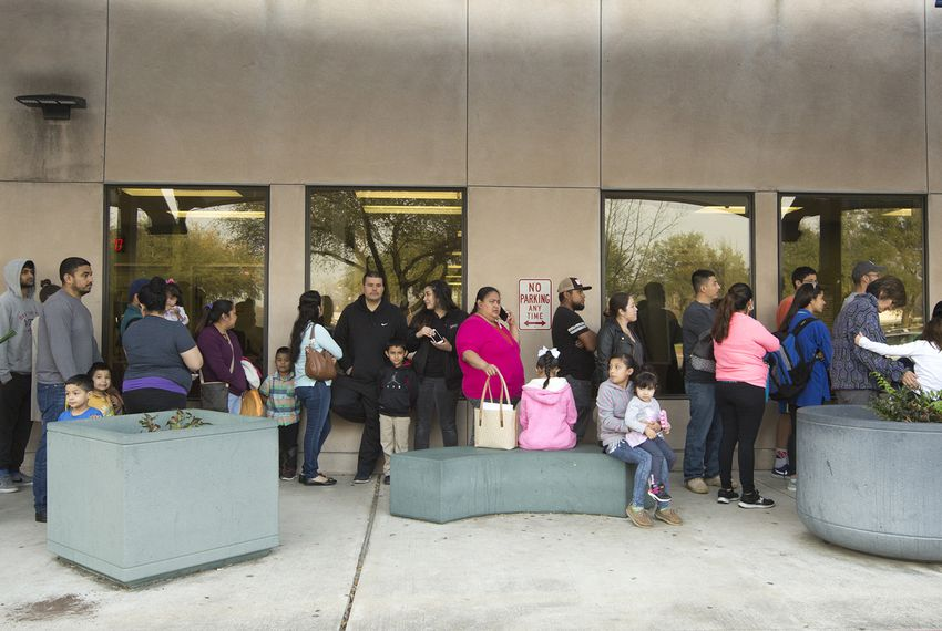 Line at the Travis County District Clerk passport acceptance facility office on January 27, 2017.