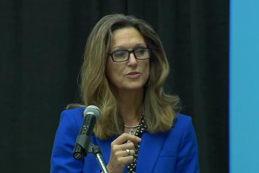 Newly-named Texas Railroad Commission Executive Director Kimberly Corley speaks at STEM Education Day on Friday, May 10, 201…