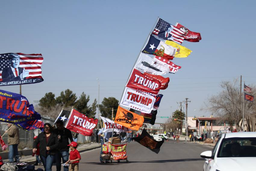 Scene from El Paso on Feb. 11, 2019, where President Donald Trump and former U.S. Rep. and potential presidential candidat...