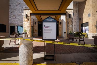 Some entrances to Barton Creek Mall in Austin remain closed as the mall reopens on May 1, 2020.