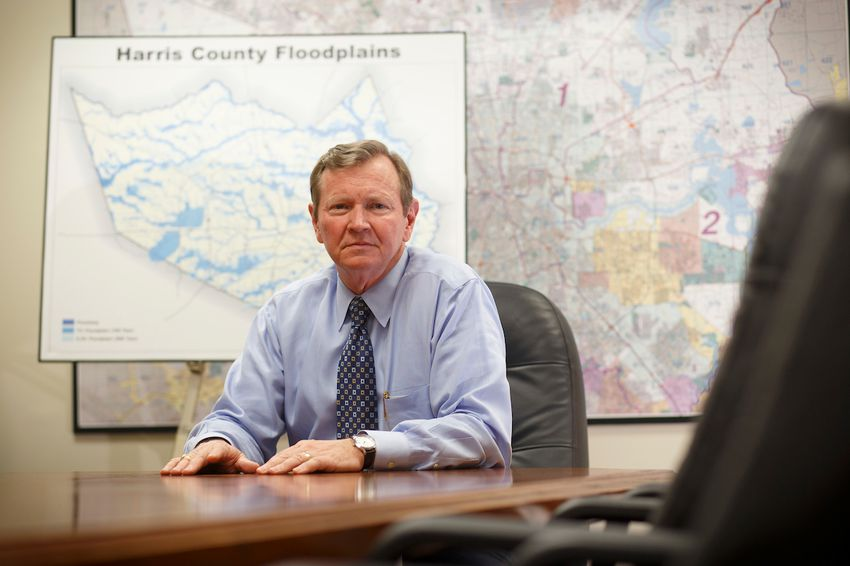 Mike Talbott, who retired after 35 years as executive director of the Harris County Flood Control District, in his Houston office on Aug. 18, 2016.