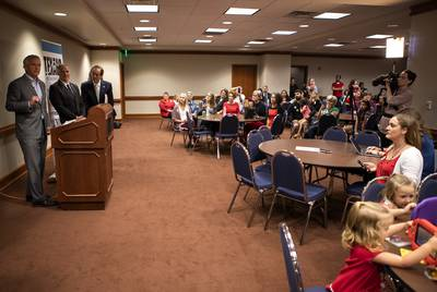 Vaccine skeptic Robert Kennedy Jr. (alongside state Reps. Kyle Biedermann, R-Fredericksburg, and Bill Zedler, R-Arlington) speaks at a Texans for Vaccine Choice event at the state Capitol.