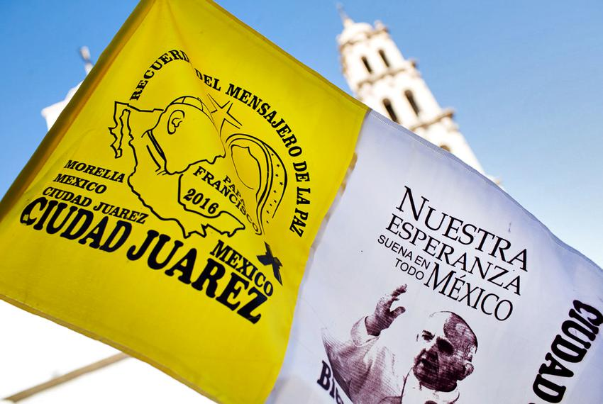 Memorabilia of Pope Francis is sold in the center of Ciudad Juárez, steps from the city's cathedral, on Feb. 15, 2016.