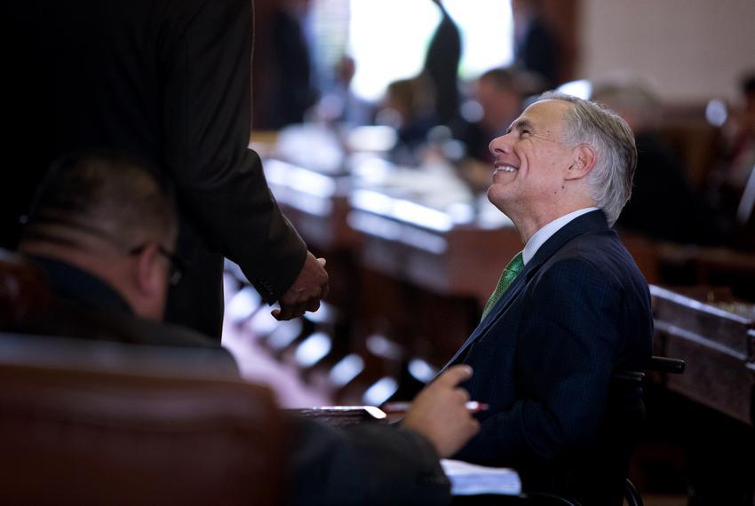 Gov. Greg Abbott on the House floor during the House School Finance plan deliberation on April 3, 2019.