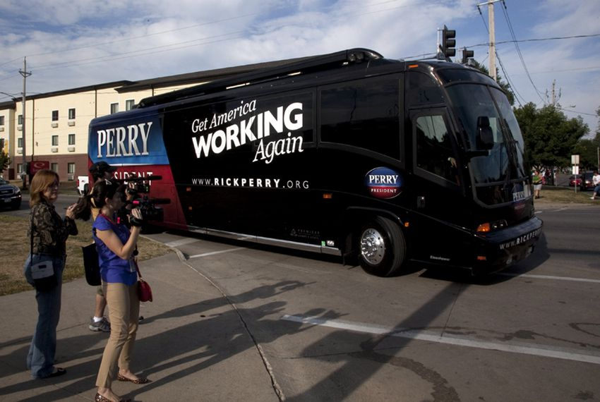 Rick Perry for President campaign bus in Iowa on August 15th, 2011