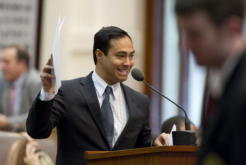 State Rep. Joaquin Castro, D-San Antonio, offers one of many amendments that failed adoption on SB14 voter ID legislation du…