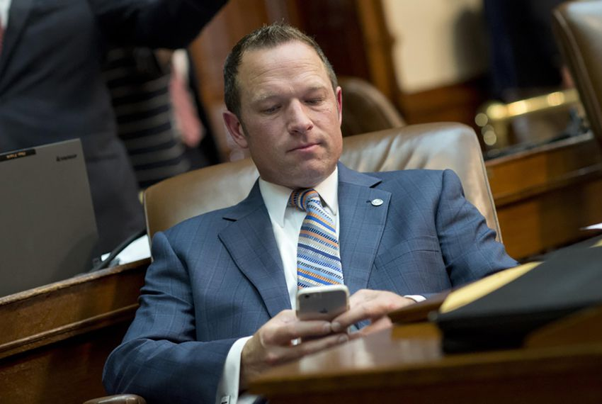 State Rep. Jason Isaac, R-Dripping Springs, on the floor of the House on May 15, 2015.