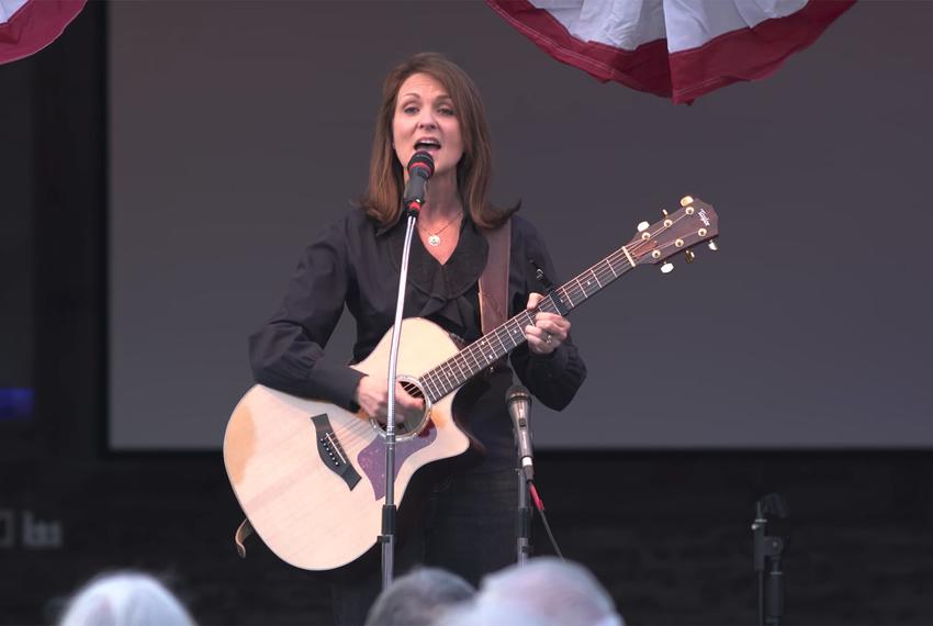 "Angela Paxton, wife of Texas Attorney General Ken Paxton, sings ""Pistol Packin' Mama"" at a NE Tarrant Tea Party gathering in…"