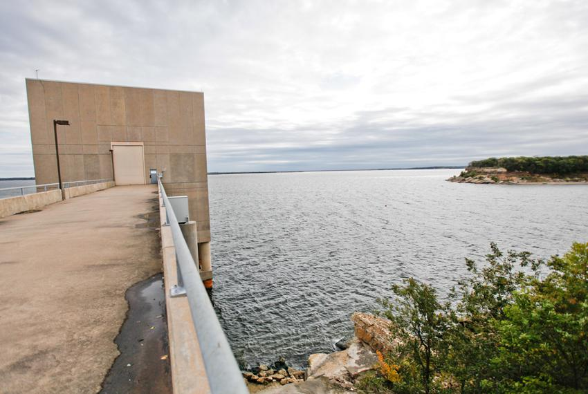 A raw water pump station at Lake Texoma on Wednesday, Oct. 16, 2013. The station is bisected by the state line between Tex...