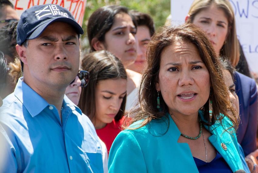From left: U.S. Reps. Joaquin Castro, D-San Antonio, Alexandria Ocasio-Cortez, D-N.Y. and Veronica Escobar, D-El Paso, speak…