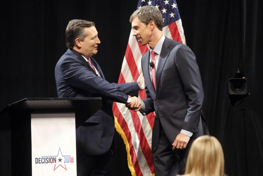 U.S. Sen. Ted Cruz shakes hands with U.S. Rep. Beto O'Rourke, D-El Paso, prior to the start of a debate at McFarlin Auditori…