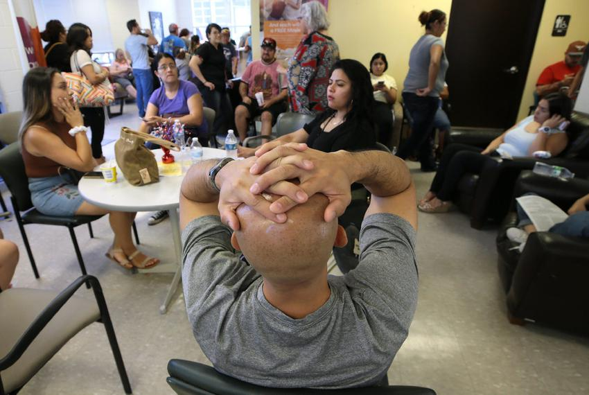 El Pasoans wait hours Sunday, August, 4, 2019 at an east El Paso, Texas United Blood Services to donate blood following Sa...