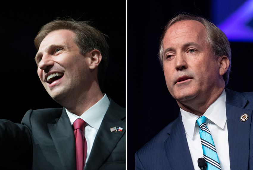 Justin Nelson (left) is the Democratic nominee facing incumbent Texas Attorney General Ken Paxton.