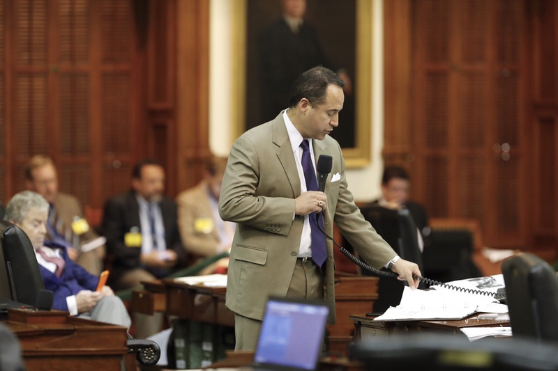 State Sen. José Menéndez, D-San Antonio, begins a late Sunday night filibuster against a bill dealing with city annexations, on May 28, 2017.