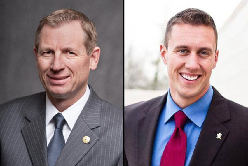 Republican candidates incumbent Byron Cook, left, and Thomas McNutt, right, run in the 2016 election for Texas House Distric…
