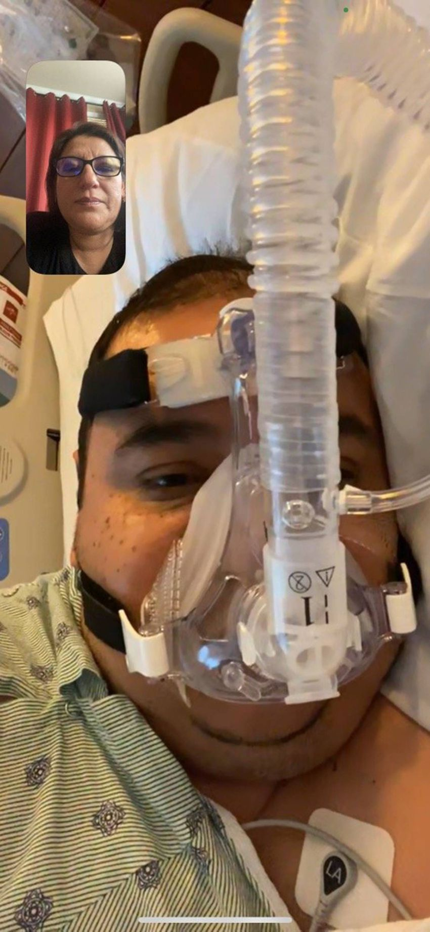 Submitted photographs of Mauricio Marin during his stay in recovery for Covid treatment in Houston, TX, provided by the fami…