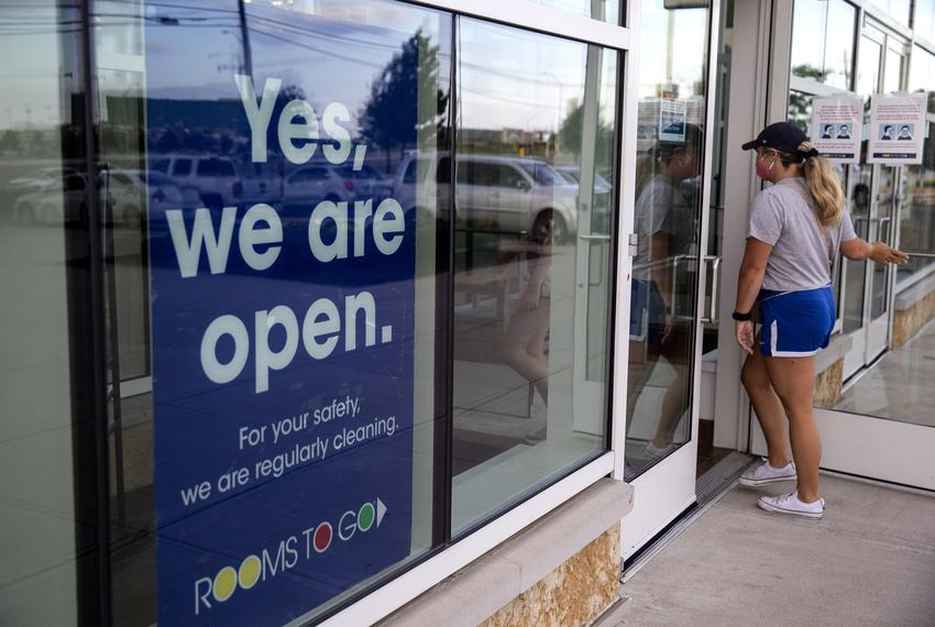 A Rooms to Go in Frisco, open to customers.