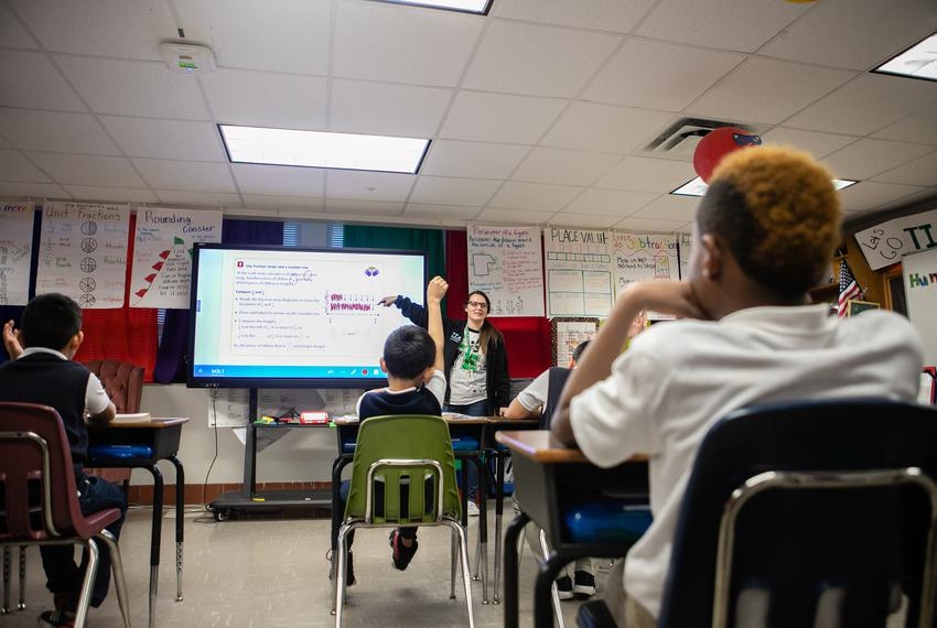 Jessica Lemmer went over a fraction problem with her third grade math class Jan. 14, 2018 at Edward Titche Elementary School…