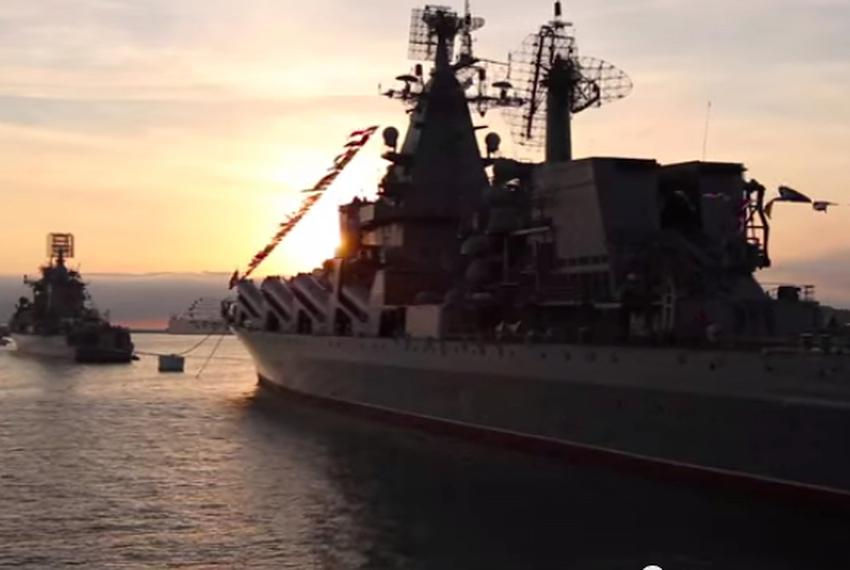 A warship, believed to be Russian, that originally appeared in Rick Perry's video on the U.S. military.