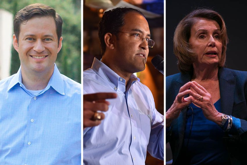 Left to right: Democratic candidate for U.S. House District 23 Jay Hulings, incumbent Rep. Will Hurd, R-Helotes, and house Minority Leader Nancy Pelosi of California.