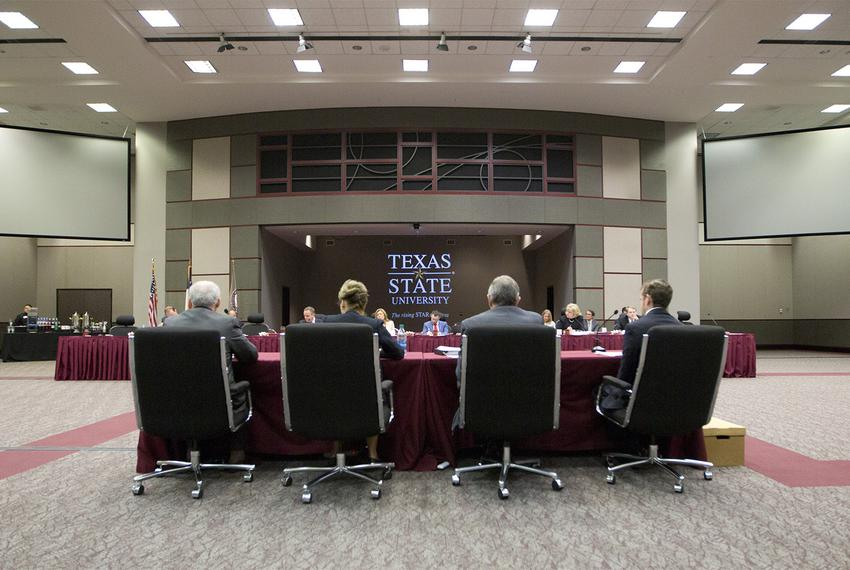 The Senate Committee on State Affairs hearing on free speech on Texas college campuses, held at Texas State University in ...