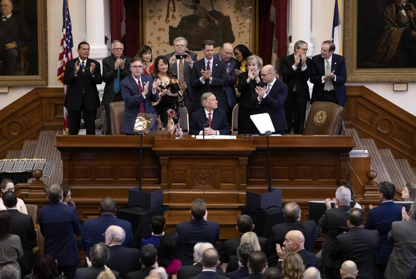 Gov. Greg Abbott addresses state officials at the State of the State address in the House Chambers at the State Capitol on F…