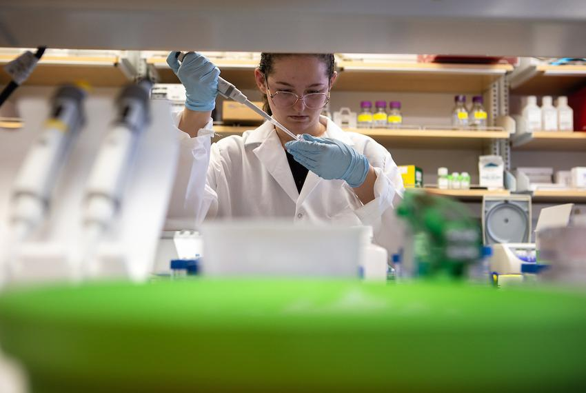 Biology junior Morgan Hale researches viral proteins at the McLellan Lab at The University of Texas at Austin on March 11,...