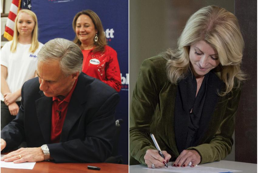 At separate events, Republican Texas Attorney General Greg Abbott and state Sen. Wendy Davis, D-Fort Worth, filed for govern…