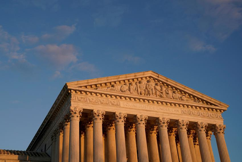 The U.S. Supreme Court building at sunset on Nov. 10, 2020.
