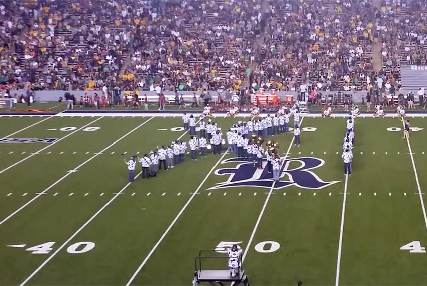 """Rice University' Marching Owl Band forms into """"IX,"""" a reference to Title IX rules governing sexual discrimination at college…"""