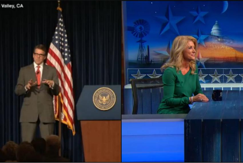 Republican Gov. Rick Perry and Democratic nominee for governor Wendy Davis made separate appearances before national audienc…